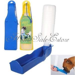 Portable Plastic Pet Dog Water Feeding Feeder Bottle Drink Bowl Fountain 500ml