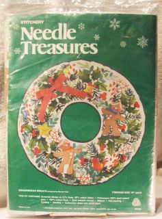 "Gingerbread Holly 19"" Christmas Wreath Needle Treasures Stitchery Kit Unopened"