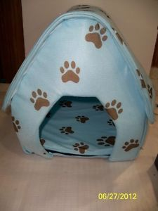 Fold Up Soft Side Small Dog Pet Bed House Blue w Brown Paw Prints Mint