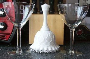 His Hers Etched Wine Glasses Porcelain Wedding Bell Ruffled Glass Rim