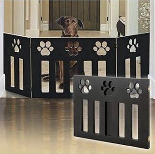Wooden Paw Decor Pet Dog Puppy Safety Expandable Folding Fence Pen Gate Barrier