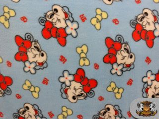 "Fleece Printed ""She Dog Winks Blue"" Fabric 58"" Sold by The Yard FHR 062"