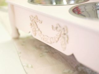 "Shabby Cottage Chic 4"" Raised Pink Pet Dog Cat Feeder"