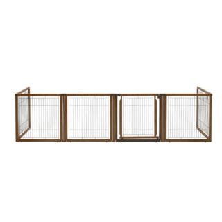 Richell Convertible Elite 6 Panel Pet Dog Gate Room Divider Pet Pen in 1