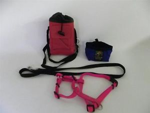 Lot of Dog Supplies Leash Harness Travel Dog Food Pouch Water Bowl