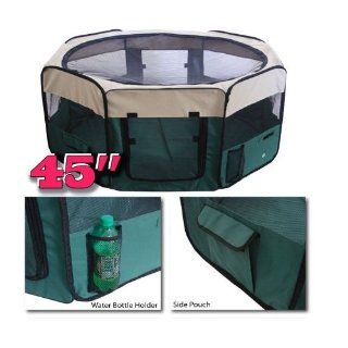"Green 45"" Pet Puppy Dog Playpen Exercise Pen Kennel Soft Crate Panel Cage Tent"