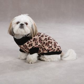 Zack Zoey Animal Print Dog Sweater Leopard w Black