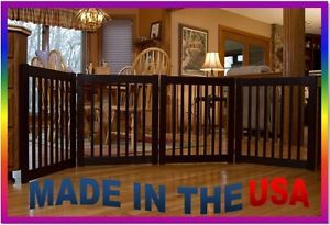 "New Pet Dog 4 Panel 27"" Tall Expandable Wide Wood Wooden Gate Door Fence Black"