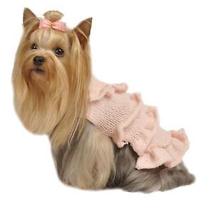 Max's Closet Pet Dog Clothing Pink Ruffled Dog Sweater Small Dog New XS M
