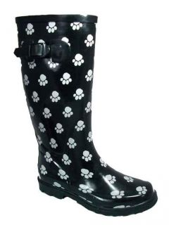 Cotswold Ladies Womens Wellington Boots Wellies Black Dog Paw