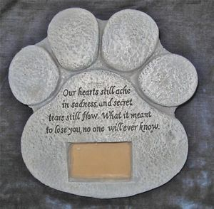 New Dog Cat Pet Paw Print Memorial Stone Frame Garden Memorial