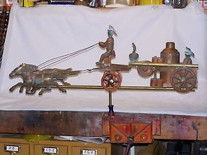 Amazing Copper and Brass Weathervane Fire Engine with Horses and Fireman