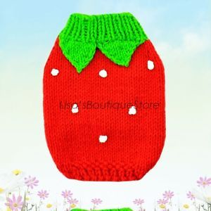 Red Strawberry Handcraft Cat Dog Clothes Crochet Knit Sweater Pet Clothes XXXS