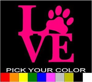 "Pet Love 3"" Cute Decal Sticker Vinyl Car Window Laptop Cell Phone Dog Cat Paw"