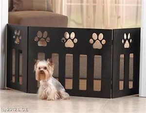"Adjustable 47""x19"" Decorative Functional Wooden Paw Print Design Pet Dog Gate"