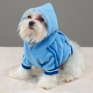 Dog Hoodie Pullover Blue Fleece Sweater Jacket Dog Pullover