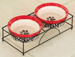 Zebra Paw Print Elevated Ceramic Dog Cat Pet Bowl Feeder Set New