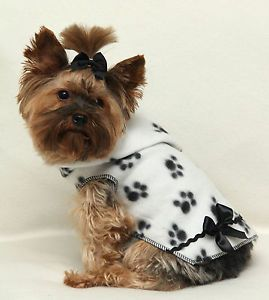 XXS New Paw Print Fleece Hoodie Dog Dress Pet Teacup