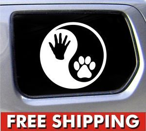 Yin Yang Human Hand Dog Paw Print Vinyl Window Decal Sticker Car Ying