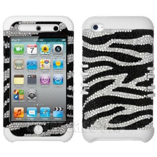 Zebra Print Diamond w Glow in Dark Case Cover for Apple iPod Touch 4 4th Gen