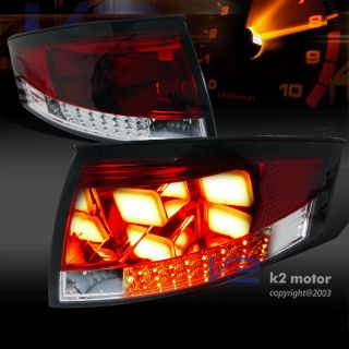 For 1999 2006 Audi TT Red Clear LED Rear Brake Lamps BMW Style Tail Lights