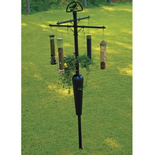 Squirrel Stopper Pole and Baffle System Holds 8 Bird Feeders Squirrel Proof