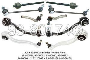 Mercedes C CLK Class New Front Suspension Rebuild Kit w Control Arms Tie Rods