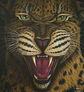 Original Signed Wild Life Art Growling Leopard Painting Big Cat L Minor