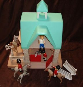 Vtg Little Tikes Tykes Horse Stable Play Set Jockeys Barn Fences Cupola