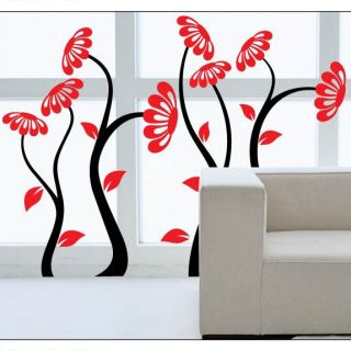 PVC Black Tree Red Flower Mural Art Decal Home Decor Wallpaper Wall Sticker Lots