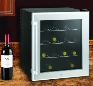 Compact Wine Cooler Refrigerator Countertop Glass Door Mini Fridge Chiller