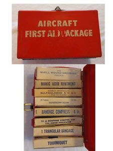 WW2 WWII USN Aircraft First Aid Kit Package Morphine Syrettes Sulfanilamide
