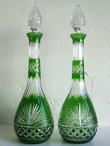 Antique Bohemian Emerald Green Cut to Clear Crystal Art Glass Decanter Bottles