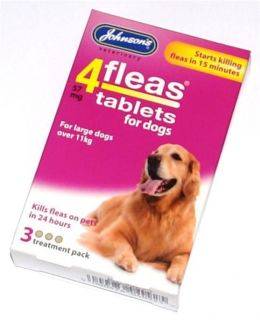 Johnsons Flea Tablet Tablets Treatment Pack for Large Dogs Killing Fleas