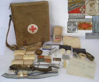 WWII Orig German Army Medic First Aid Bag w Equipment