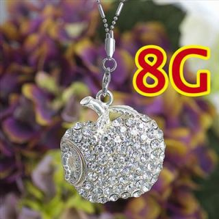 8GB Crystal White Rhinestone Apple Necklace USB Flash Drive Memory Stick Jump