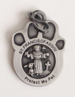 Protect My Pet St Francis Medal Footprint Cat Dog Fish Birds Etc