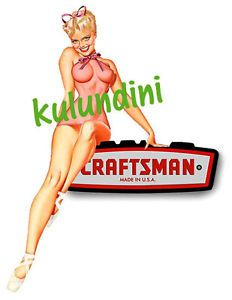 Craftsman Tools Happy Girl Sticker Decal Tool Box Pin Up Art Vintage Retro Fire