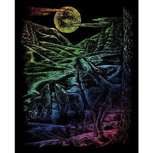 Scraperfoil Scratch Art Kit Rainbow Howling Wolves Engraving Art