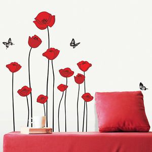 Red Poppy Flowers DIY Wall Decor Art Sticker Mural Adhesive Paper Vinyl Decal