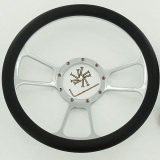 "14"" Chrome Split Tri Spoke Style Steering Wheel w Half Wrap Black Leather"