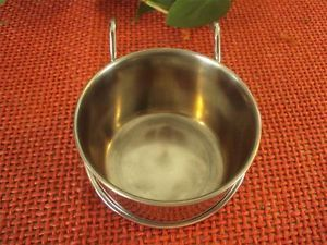 Five Ounce Stainless Steel Hanging Coop Cup Bird Food Water Dish