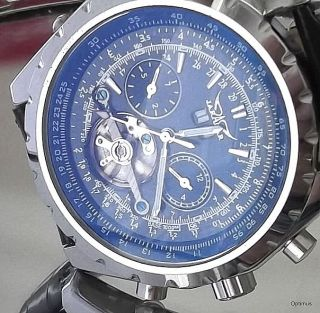 Cool Classic Swiss Style Steel Sport Auto Winder Chronograph Mens Watch Woman