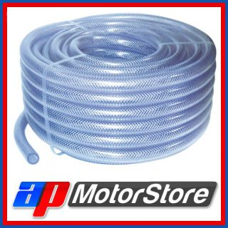 1 2M Reinforced Clear PVC Braided Hose Water Pipe Flexible Plastic Food Air Oil