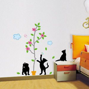 Tree Cat Wall Paper Decal Mural Vinyl Art Stickers 182