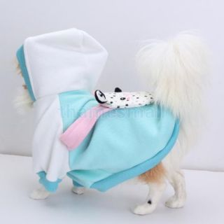 Pet Dog Puppy Hoodie Hooded Coat Clothes Apparel w Cute Cow Pattern Backpack