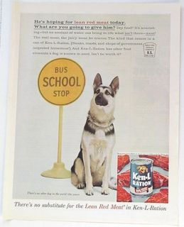 1961 Ken L Ration Dog Food German Shepherd School Bus Stop Print Ad