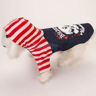 3X Fashion Pet Dog Puppy Hooded Coat Shirt Denim Clothes Costume Punk