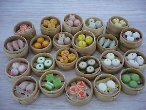Set of 50 Dimsum Chinese Cuisine Handmade Dollhouse Miniatures Food Supply Deco