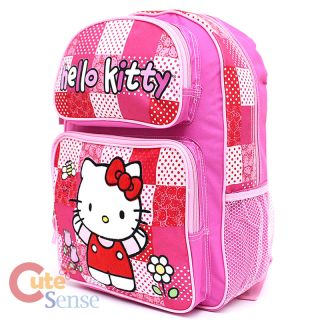 "Sanrio Hello Kitty School Backpack 14"" Medium Book Bag Pink Quilt Patterns"